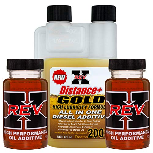 REV-X Diesel Oil Additive & Fuel Kit - 4 oz Oil Treatment (2) + 8 oz Diesel Gold Fuel System Cleaner