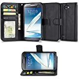 Samsung Galaxy Note 2 Case, IZENGATE [Slim Series] Wallet Cover Synthetic Leather Flip Folio with Stand (Black)