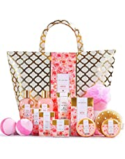 Spa Luxetique Rose Bath Set Gift, Home Spa Kit for Women, Luxury 15pc Spa Tote Bag with Massage Oil, Bath Bombs & More. Best Christmas, Birthday Gift Basket Set for Her