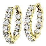 4.50 CT TW Large Diamond Inside/Outside Hoop Earrings in 14k Yellow Gold