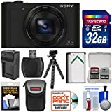 Sony Cyber-Shot DSC-WX500 Wi-Fi Digital Camera (Black) 32GB Card + Battery + Charger + Case + Flex Tripod + Kit