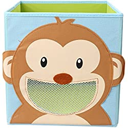 NEWSTYLE Foldable Kids' Toy Storage Bin Box - Cartoon Children Toys Chest and Closet Organizer (Smiling Monkey)