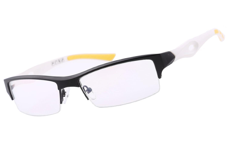 18b5f2220a0f Amazon.com  Agstum TR90 Mens Womens Sports Optical Half Rim Glasses Frames  (Black White