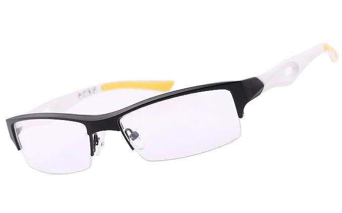 07ca62b4cf7 Amazon.com  Agstum TR90 Mens Womens Sports Optical Half Rim Glasses Frames  (Black White