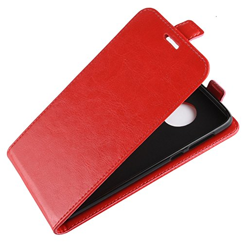 HualuBro Retro Slots Holder Leather PU G6 Moto with Credit Flip Handmade Flip Cover Case Card Wallet Motorola Case Phone Brown Red Moto G6 Protective for ID rtTfrq