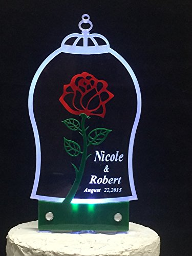 Dome Inspired (Personalized Beauty and the Beast Inspired Cake Topper with LED Light for Special Occasions-dome with Rose)