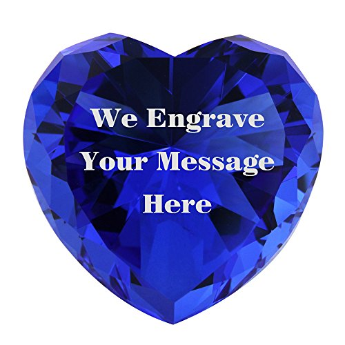 Personalized Heart Paperweight - Personalized Custom Engraved Crystal Diamonds (blue)