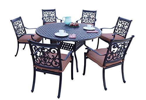 Darlee 7 Piece St. Cruz Cast Aluminum Dining Set with Spicy Chili seat cushions and 60'' Round Dining Table, Antique Bronze Finish