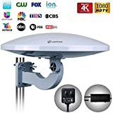 Outdoor TV Antenna - Antop 65 Miles Omni-Directional 360 Degree Reception with Amplifier Booster and 4G LTE Filter, HDTV Antenna has UV-Coating Technology, 30ft coaxial Cable, 4K UHD Ready,1-Pack