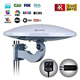 Antop Outdoor TV Antenna Build-in 4G LTE Filter with Smartpass Amplifier, 65 Miles Omni-Directional 360° Reception with UV-Coating Technology, High Gain 33ft Long Coaxial Cable, 4K UHD Ready