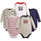 Luvable Friends 5 Pack Long Sleeve Bodysuit. Speedy, 0-3 Months