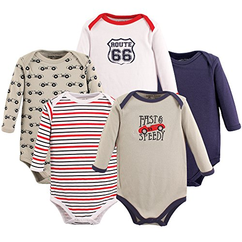 Luvable Friends Baby Long Sleeve Bodysuits, Speedy 5Pk, 18-24 Months (24M)