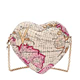 XMLiZhiGu Women's Girls Heart-shaped Chain Shouder Mini Cordate Map Crossbody Bag White