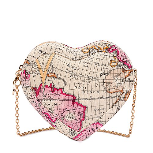 XMLiZhiGu Women's Girls Heart-shaped Chain Shouder Mini Cordate Map Crossbody Bag White
