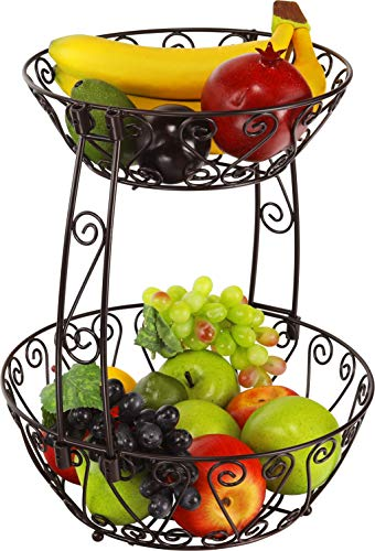 2-Tier Countertop Fruit Basket Bowl Storage, Bronze ()