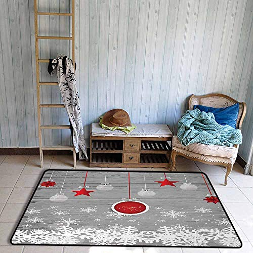 (Children's Rug Christmas Traditional Celebration Theme with Pendant Stars Baubles Ornate Snowflakes Anti-Fading W55 xL63 Grey Red White)
