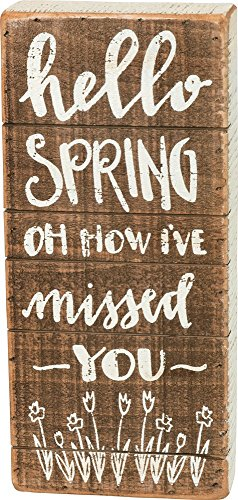 Primitive Home Decor Spring - Primitives by Kathy Hello Spring How I've Missed You 4.50 Inches x 10 Inches Wood Slat Box Sign Home and Garden Decor