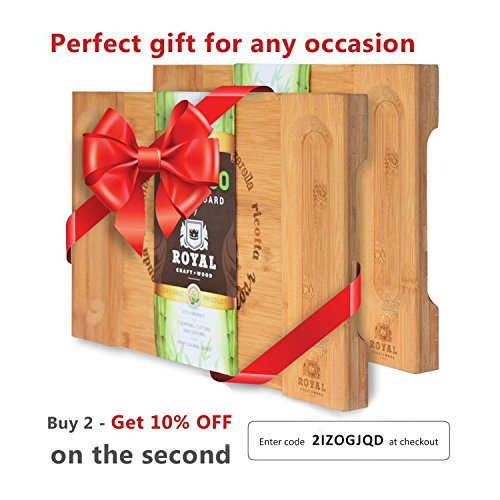 Unique Bamboo Cheese Board, Charcuterie Platter & Serving Tray for Wine, Crackers, Brie and Meat. Large & Thick Wooden Server - Fancy House Warming Gift & Perfect Choice for Gourmets (Bamboo) by Royal Craft Wood (Image #6)