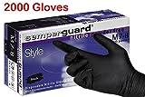 Semperguard Black Nitrile Gloves - Powder Free 10X Box 200- Medium