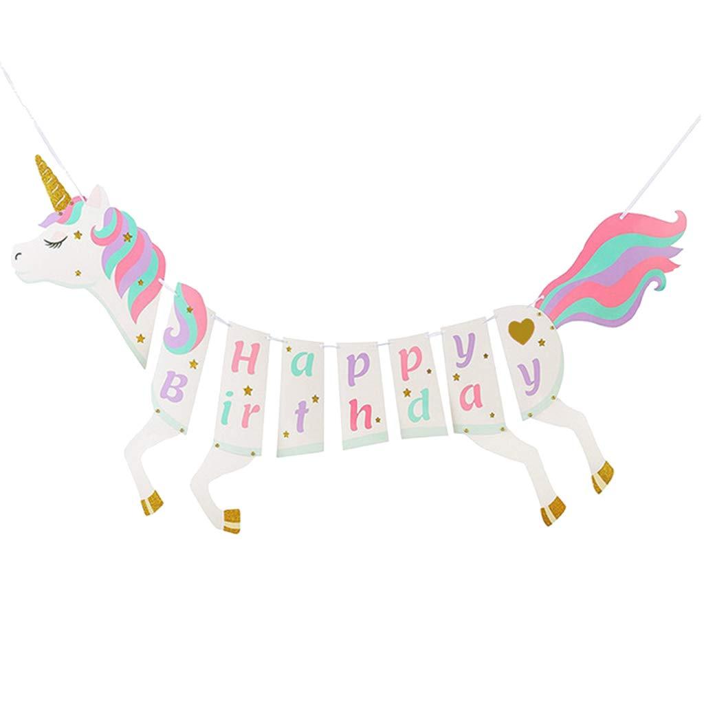 Amazon com: SM SunniMix Glitter Unicorn Happy Birthday
