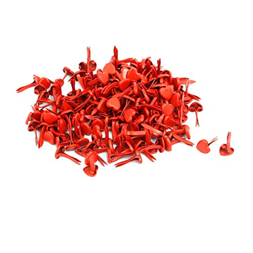 - uxcell 5mm Iron Heart Shaped Paper Brad Fasteners Red 200pcs