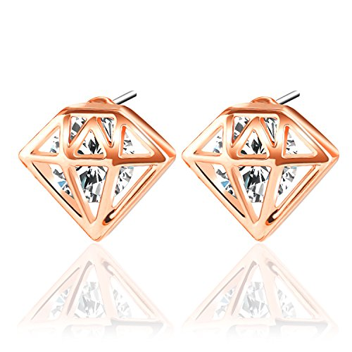 (UHIBROS Diamond Shaped Earrings, Unisex Hypoallergenic Stainless Steel Earrings,Cubic Zirconia Stud Earrings Rose Gold,1Pair)