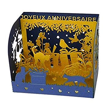 Michel Hasson Editions Joyeux Anniversaire For Animal Lovers Small Pop Up Birthday Card Blue