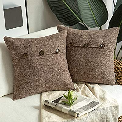 Phantoscope Farmhouse Throw Pillow Covers Triple Button Vintage Linen Decorative Pillow Cases for Couch Bed and Chair Coffee, 18 x 18 inches 45 x 45 cm, Pack of 2 - Material: 30% cotton, 70% polyester; 100% acrylic featured triple button Size: 18 x 18 inches, 45 x 45 cm Features: Neat and classic, pack of 2 farmhouse style throw pillows features a 3-button closure; premium vintage pillow covers only, throw pillow insert not included - living-room-soft-furnishings, living-room, decorative-pillows - 51hCMrXkTxL. SS400  -