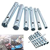 TOOGOO 7Pcs 6mm-17mm Tubular Tube Spanner Wrench Box Spanner t Metric Socket t for Repair Hand Tools