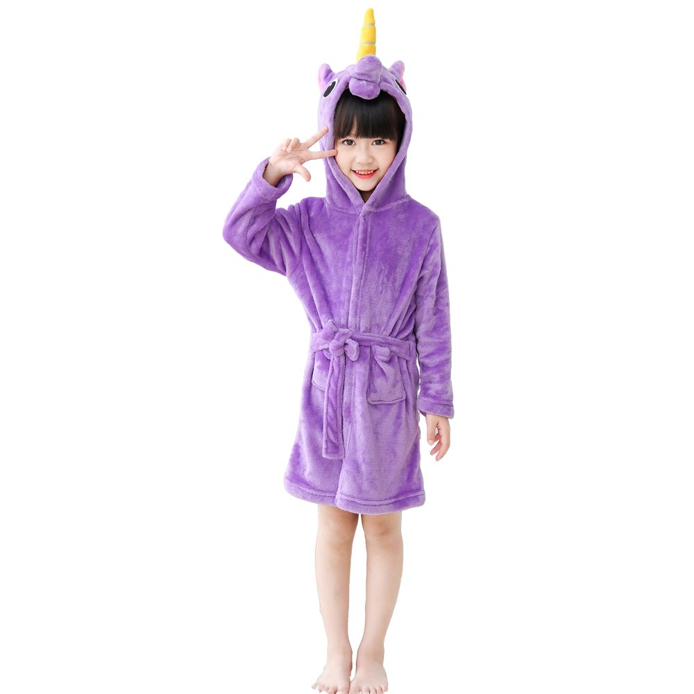 EuHigh Kids Bathrobe Comfy Robe Soft Fleece Hooded Unicorn Nighties Unisex Gift