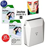 Fujifilm Instax SHARE SP-3 Smartphone Printer (White) Bundle with Fujifilm Instax Square Film (20 Exposures) + K&M MicroFiber Cloth