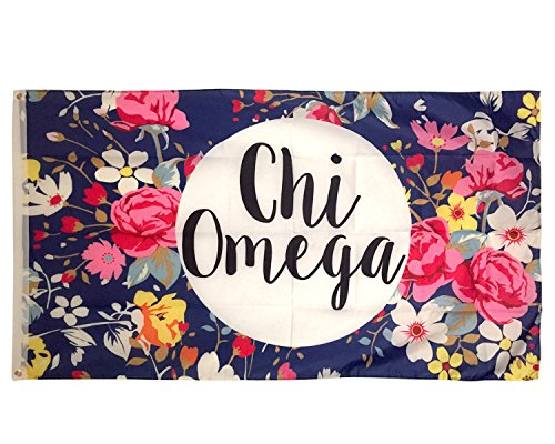 Chi Omega Floral Pattern Letter Sorority Flag Greek Letter Use as a Banner Large 3 x 5 Feet Sign Decor chi o (Omega Phi Psi Merchandise)