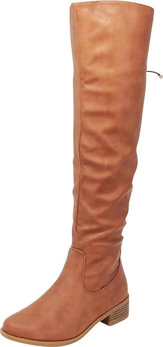 fa66ac96770e Cambridge Select Women's Closed Round Toe Riding Back Corset Lace Chunky  Block Low Heel Knee-