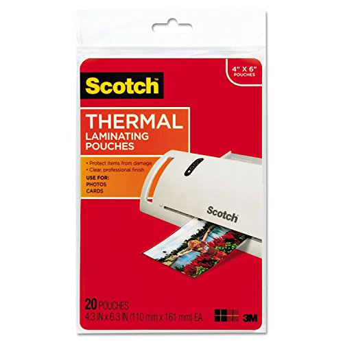 Thermal Pouches Photo - Scotch Photo Size Thermal Laminating Pouches, 5 mil, 6 x 4, 20/Pack