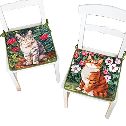 Chair Pad Garden (Garden Cat Decorative Kitchen Chair Pads with Ties - Set of 2)