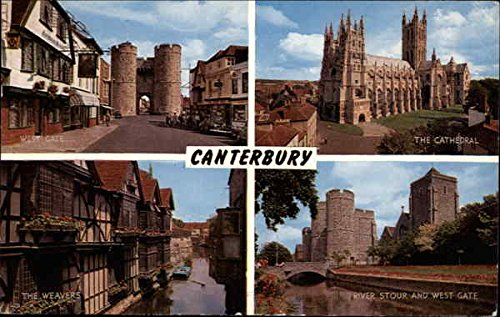 Canterbury Views, Including the West Gate and the Cathedral Canterbury, United Kingdom Original Vintage Postcard (Canterbury Cathedral Gate)