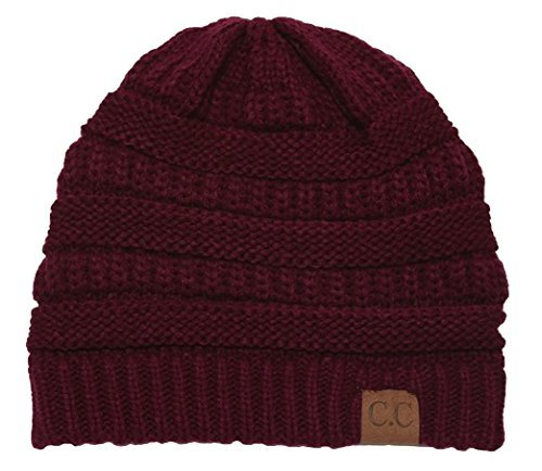 C.C Women's Thick Slouchy Knit Beanie Cap Hat One Size Cherry ()