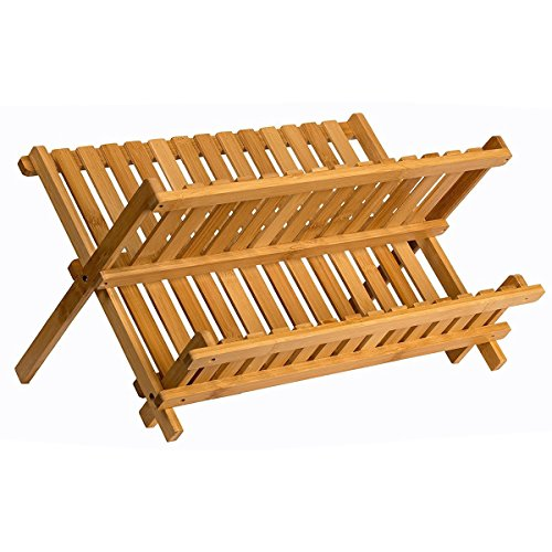 Dish Drying Rack Plate Rack Collapsible Compact Made Of Natural Bamboo Folding Dish Drainer For Holding Plate Holder, Cup Drying (Holding Rack)
