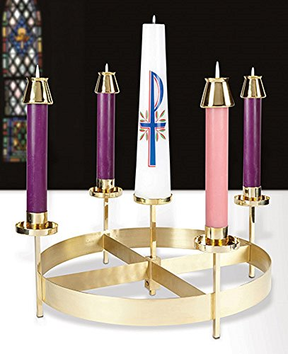 Advent Wreath, Brass (EC028) holds (4) 1 1/2'' dia & (1) 3'' dia candles by AT001