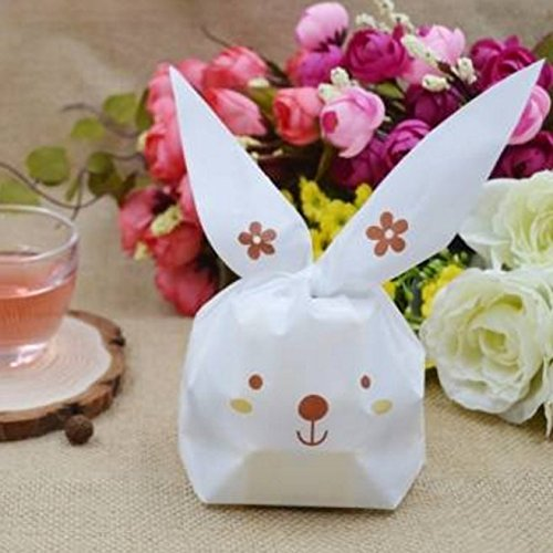 50PCS Easter Cute Rabbit Style Plastic Candy Bags Cookie Bags by Micro Shops