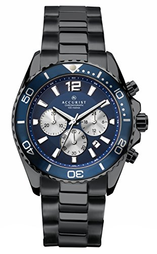 (Accurist Men's Quartz Watch with Blue Dial Chronograph Display and Black Satin Stainless Steel Bracelet 7206)