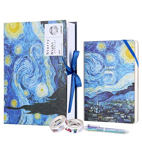 2019 Planner Weekly and Monthly Starry Night A5 Appointment Book with 6 Color Ballpoint Pen 2 Roll Adhesive Paper Tapes and Inner Pocket 5