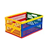 ECR4Kids Collapsible Heavy Duty Storage Crate for Organizing Art/Office Supplies with Handles
