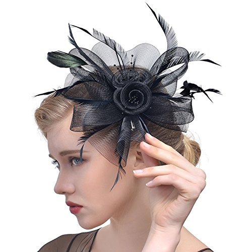 Womens Sinamay Fascinator Hair Clip Top Hat,Flower Cocktail Tea Party Derby Headwear,Veil Wedding Party (Church Lady Costume)