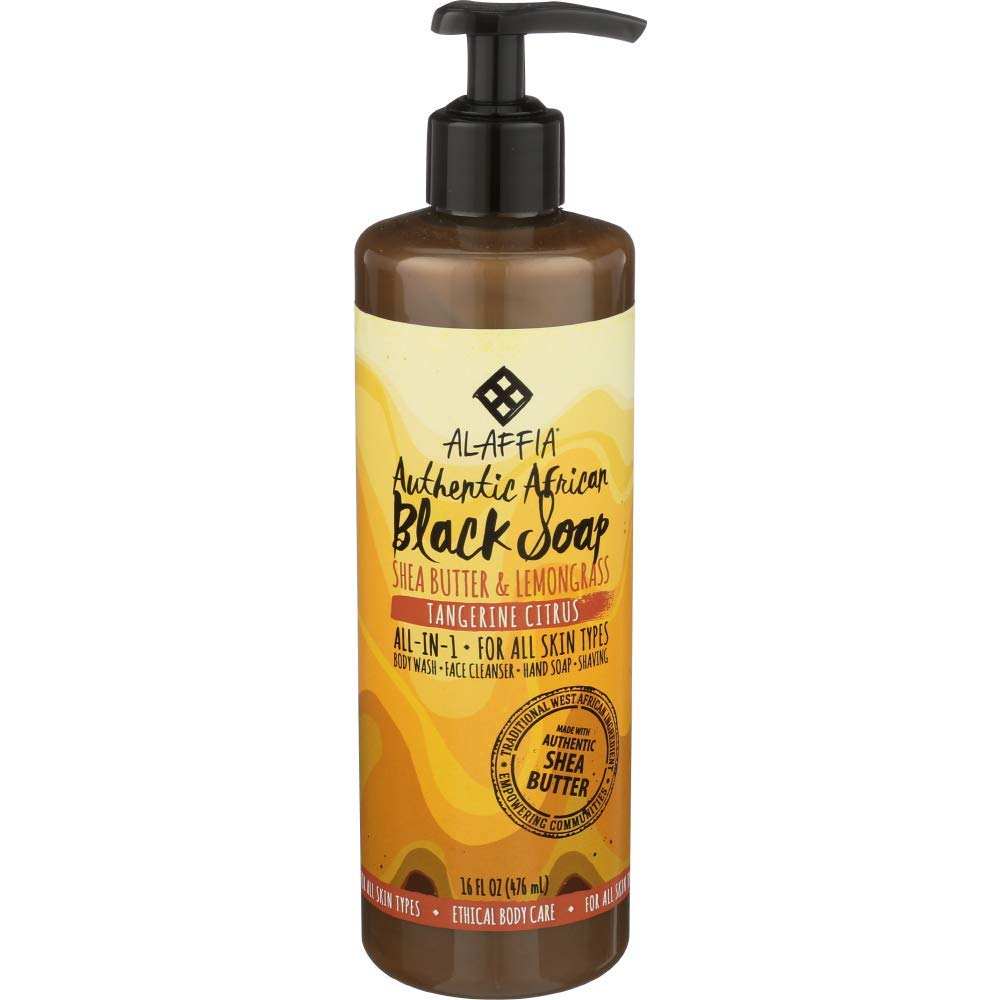 Alaffia - Authentic African Black Soap, All-in-One Body Wash, Shampoo, and Shaving Soap, All Skin and Hair Types, Fair Trade, No Parabens, Non-GMO, No SLS, Tangerine Citrus, 16 Fl Oz