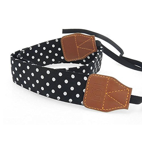 JINHEZO Black Color with White Dots Digital SLR Camera Camcorder Neck Shoulder Straps Belt for Canon Nikon Samsung Olympus Sony Fujifilm Panasonic
