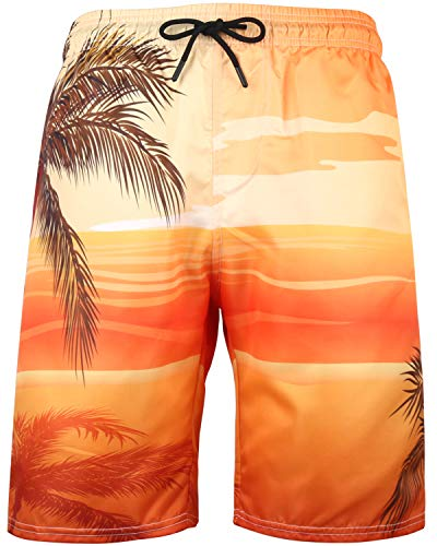 Men's Tropical Floral Hawaiian Swim Trunks Beach Board Shorts with Lining, C11 Yellow, 6XL