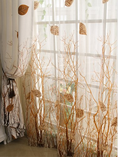 ElleWeiDeco Modern Autumn Leaf Tree Branch Sheer Window Curtain/drape/panel (Brown, 52Wx84L)