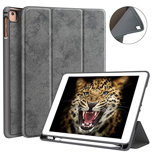 JUQITECH iPad 9.7 2018/2017 Case with Pencil Holder, Flexible Soft TPU Back Cover and Trifold Stand Smart Cover Case with Auto Sleep/Wake for iPad 6th Generation Apple iPad 9.7 Inch, Gray