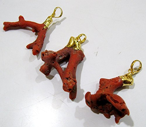 AAA Quality Natural Italian Coral Branch Dangle Charms Pendant , Gold Electroplated Cap , Birth Stone Pendant 2 to 3 inches sold per Piece
